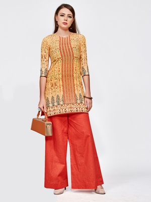 Orange printed crepe short kurti