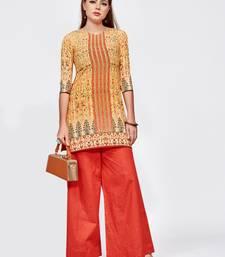 Orange printed crepe short kurti