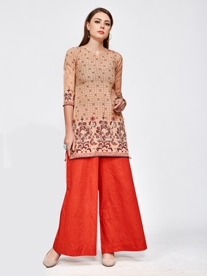 Brown printed crepe short kurti