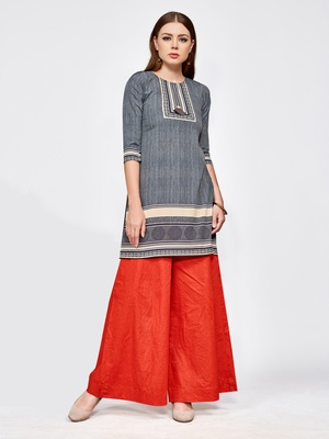 Grey printed crepe short kurti