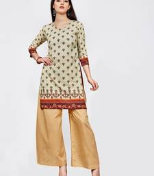 Cream printed crepe short kurti