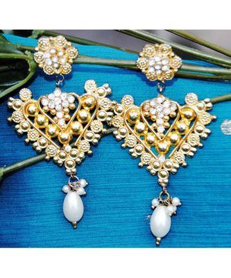 Ethnic Gold Dangler Earrings with Pearl Drop