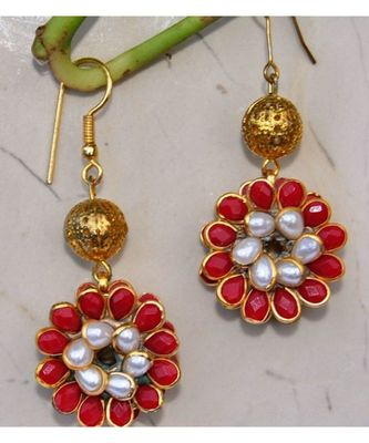 Red Pacchi Dangler Earrings