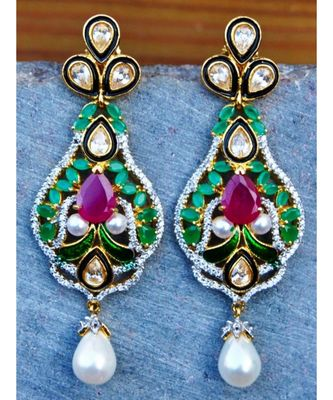 Multigemstone Kundan Dangler Earrings