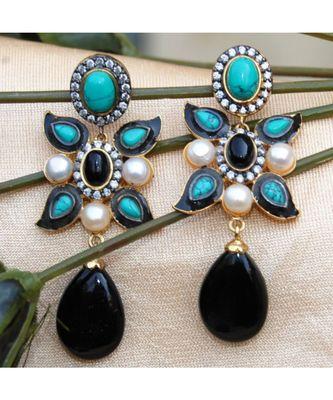 Onyx Turquoise Dangler Earrings