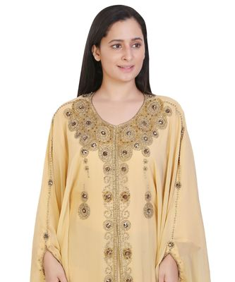 Beige Georgette Embroidered Zari Work Islamic-Kaftans