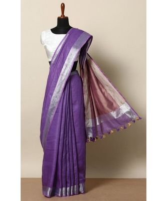 Purple Hand Woven Linen Saree With Blouse