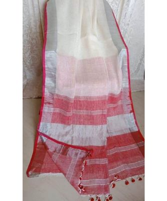 white hand woven linen saree with blouse