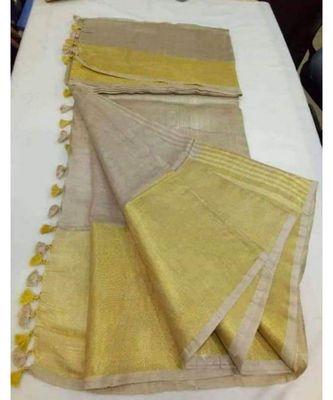 cream hand woven linen saree with blouse