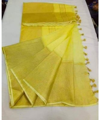 yellow hand woven linen saree with blouse