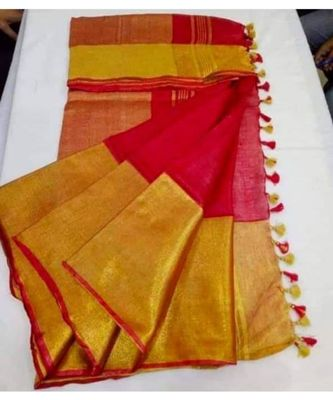 red hand woven linen saree with blouse