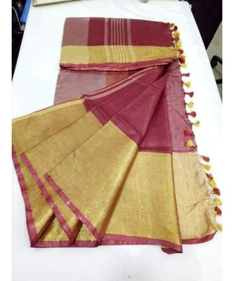 maroon hand woven linen saree with blouse