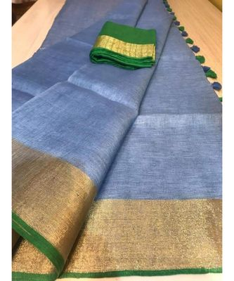 grey hand woven linen saree with blouse