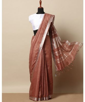 brown hand woven linen saree with blouse