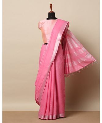 pink hand woven linen saree with blouse