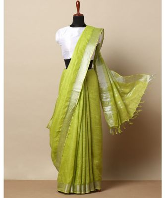 parrot green hand woven linen saree with blouse