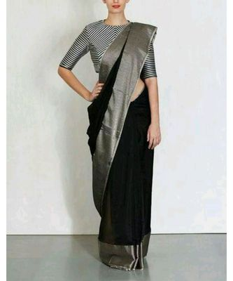 Black Hand Woven Linen Saree With Blouse