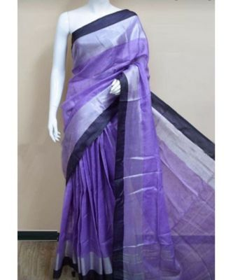 Blue Hand Woven Linen Saree With Blouse