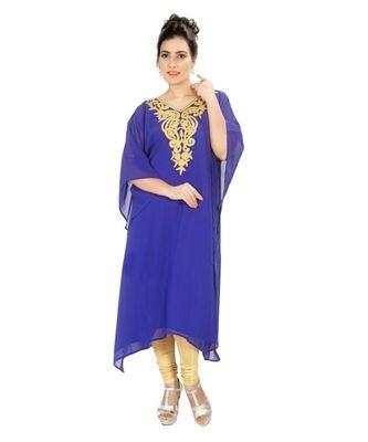 Royal-Blue Georgette Embroidered Zari Work Islamic-Kaftans