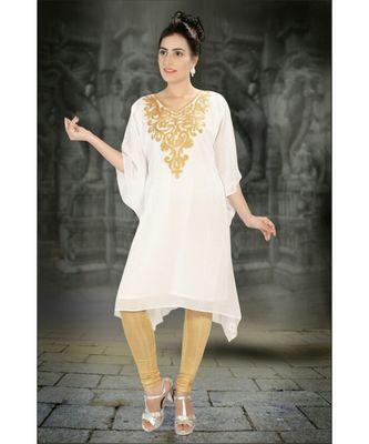 Cream Georgette Embroidered Zari Work Islamic-Kaftans