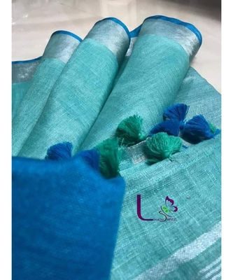 turquoise hand woven linen saree with blouse