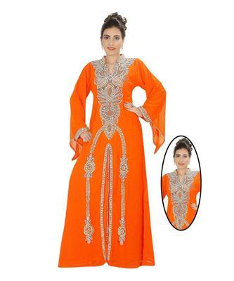 Orange Georgette Embroidered Zari Work Islamic-Kaftans