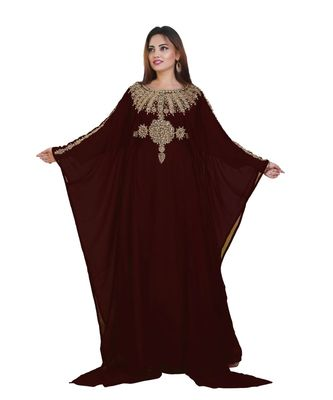 Brown Georgette Embroidered Zari Work Islamic-Kaftans