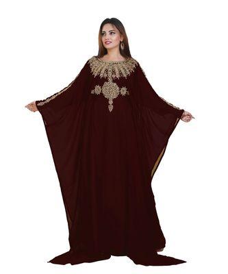 BROWN georgette embroidered zari work islamic-kaftans