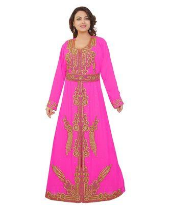 Pink Georgette Embroidered Zari Work Islamic-Kaftans