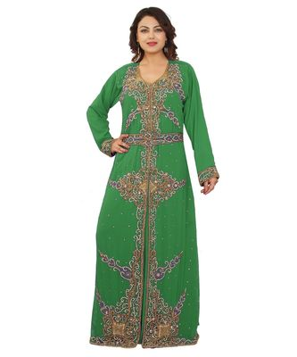 Green Georgette Embroidered Zari Work Islamic-Kaftans
