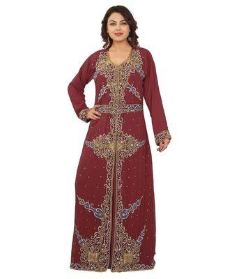 Magenta Georgette Embroidered Zari Work Islamic-Kaftans