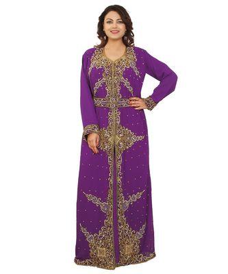 Purple Georgette Embroidered Zari Work Islamic-Kaftans