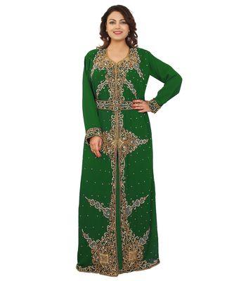 Green Georgette Embroidered Zari Work Islamic-Kaftans