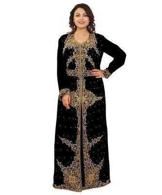 Black Georgette Embroidered Zari Work Islamic-Kaftans