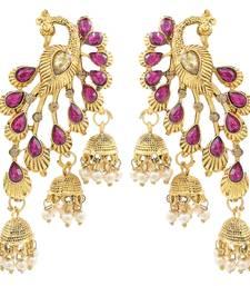 Saizen Pearls Gold Tone Peacock Inspired Dangle & Pearl Drops Earring for Women & Girl
