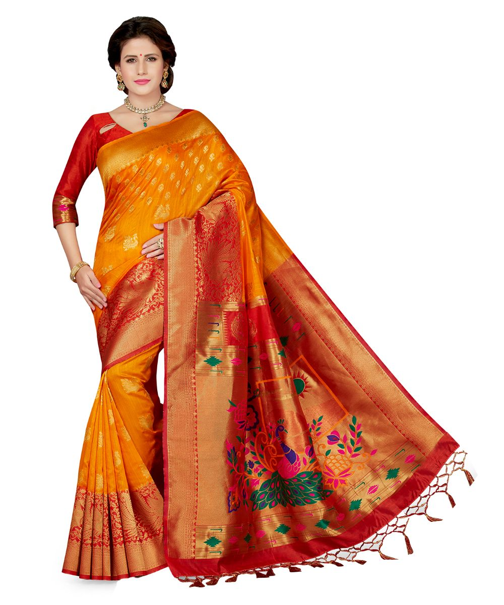 774c0c9cfbe yellow embroidered art silk saree with blouse - Ishin - 2912187