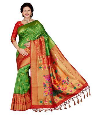 fffe2ed0e41 Green embroidered art silk saree with blouse - Ishin - 2912190