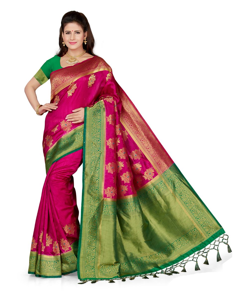 c3a4984b9f9 Pink embroidered art silk saree with blouse - Ishin - 2912193