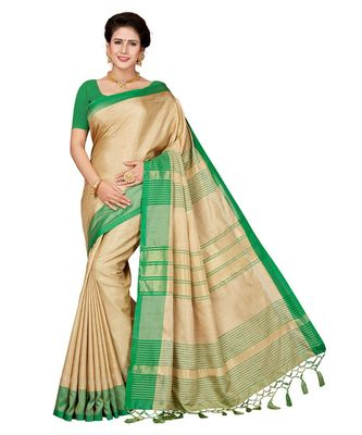 8f27a0590 Beige embroidered faux linen saree with blouse - Ishin - 2912223
