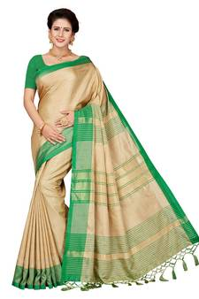 1766cfb3b64769 Beige embroidered faux linen saree with blouse. Shop Now