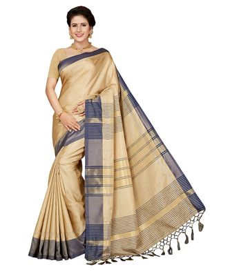 Beige embroidered faux linen saree with blouse