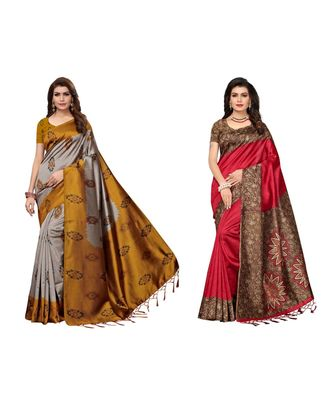 Combo Of 2 Poly Silk Multicolor Printed Women's Saree With blouse
