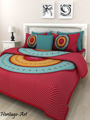 Indian handmade bedsheet with pillow cover