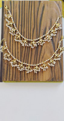 Kundan And Pearls Gold Tone Anklet