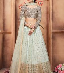 Sky-blue embroidered net unstitched lehenga