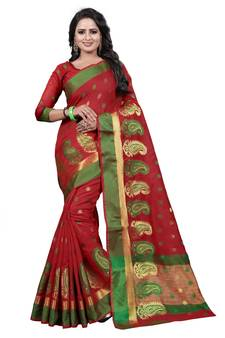 7bb81cd906eeb3 Maroon woven cotton silk saree with blouse