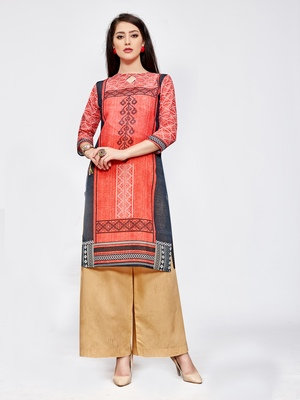 Red printed linen kurti