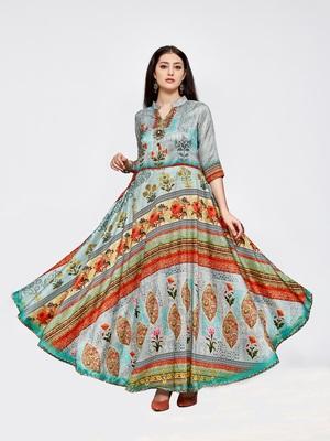 Multicolor printed silk long kurti