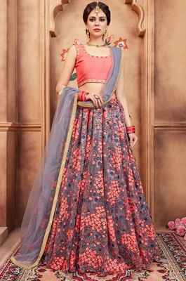 Grey Zari and Thread Embroidered Net semi stitched Lehenga