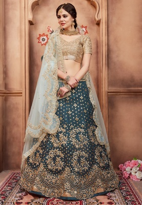 Green Dori and Sequins Embroidered Art Silk Semi stitched Lehenga